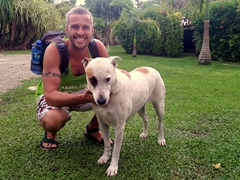 Robby plays with Lola, one of the Turtle Bay Lodge's dogs