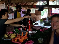 Treated to fresh fruit and hot coffee and lemon leaf tea; Vunaspef Village