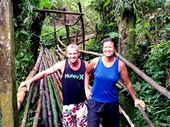 Yay! We made it...one final trek over the bamboo bridge back to Wambel Village to await our ride back to Luganville