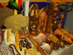 Souvenirs for sale at Luganville's handicraft center