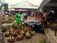 Lots of produce for sale at the market (near Sarakata Bridge); Luganville