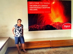Mt Yasur advertisement claiming to be the world's longest continually erupting volcano