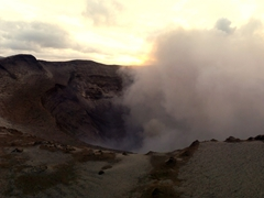 We were able to shift around the crater of the volcano, shocked that we could get this close to it