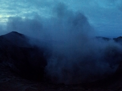 Night panorama of Mt Yasur volcano