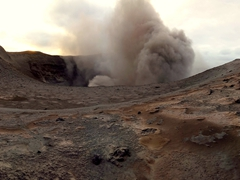 Panoramic view of Mt Yasur's crater