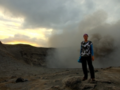Becky at Mt Yasur
