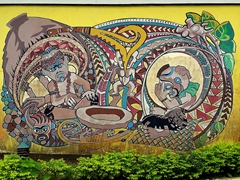 Colorful wall mural at the Jean P. Haydon Museum