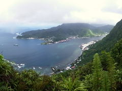 We are still about 1 km or 2 mountain peaks away from the summit of Mt Alava but the views of Pago Pago harbor are already mesmerizing!