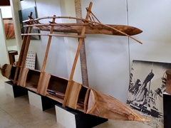 Outrigger canoe display; Jean P Haydon museum