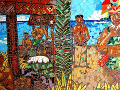 Colorful walll mural at Pago Pago International Airport