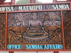 "Carved wooden sign at the ""Office of Samoan Affairs"""
