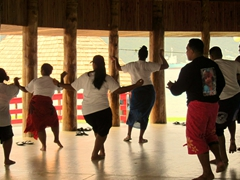"Samoan youths rehearsing their ""Fiafia"" dance moves"