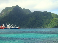 Gorgeous turquoise water in Pago Pago harbor