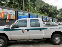 Colorful murals in the parking lot of the US National Park service; Pago Pago