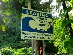 As we hiked up out of Vatia, we passed this Tsunami hazard zone sign. Locals are urged to consolidate on the high ground in the event of a tsunami