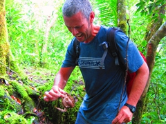 Robby in pain after messing with the wrong coconut crab!