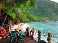 Beach view from Tisa's Barefoot Bar - sleeping in the beach fales is an option for those so inclined!