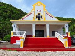 Brightly painted church
