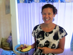 Becky can't believe our delicious umu feast that Layanga graciously gave us for our Sunday afternoon meal