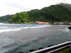 Pretty coastal scenery on our drive from the airport into Pago Pago