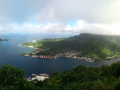 Panoramic view of Rainmaker Mountain, Pago Pago Harbor and the northwest coastline - as seen from the summit of Mt Alava