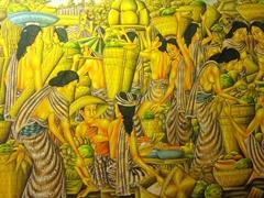 Painting of a Samoan market scene; Jean P Haydon museum