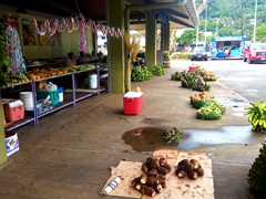 Limited produce for sale at the petite Fagatogo Market