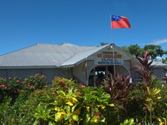 The Samoan flag waves proudly