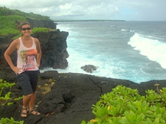 Stopping to admire the rugged scenery on Savai'i's southern coast