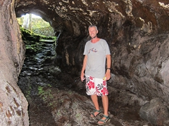 Robby posing inside the lave cave of Peapea