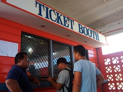Buying ferry tickets for the hour ride from Upolu to Savai'i