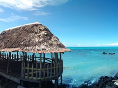 Panorama of a beach fale