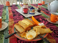 Our sumptuous breakfast; Janes Beach Fales at Manase
