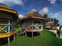 A view of our awesome accommodation at Janes Beach Fales in Manase