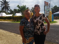 Becky strikes a pose with the owner of Janes Beach Fales who came out to bid us farewell