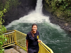 Becky enjoying Sauniatu Waterfall (free to visit)