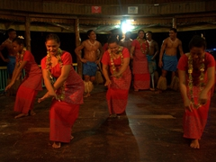 It's Fiafia night as these Samoan beauties put on a show for us; Taufua Beach Fales