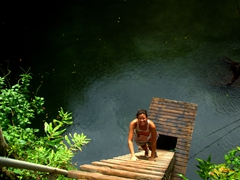 Becky demonstrates how to climb down to the To Sua Ocean Trench