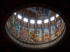 Ceiling dome of Mulivai Cathedral - notice the traditionally clad Samoans!