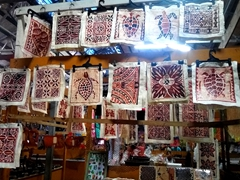 Siapo (tapa cloth) souvenirs for sale; Apia flea market