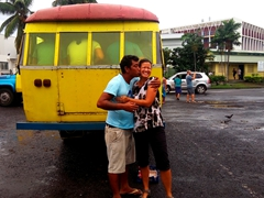 Yup, within the first few hours after arriving to Samoa, Becky is kissed by a random stranger while wandering around the bus station in Apia!