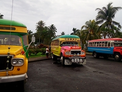 Public buses, Samoan style - we loved riding these around the island (cheap, cheesy and fun with music blaring)