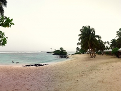 View of the beach from our fale (gorgeous despite the constant rain); Matareva Beach Fales