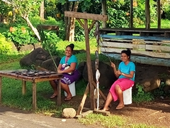 Girls smile as they try to sell fish by the roadside