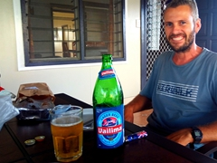 Robby relaxing with a Vailima beer at Talofa Inn, our central Apia hotel