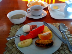 Breakfast served daily at Talofa Inn (an awesome place to stay in Apia)
