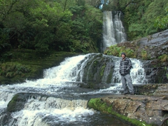 Robby by the McLean Falls in Catlins Forest Park