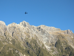 A sightseeing plane high above Milford Sound