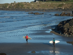 Hardy boys about to surf in the middle of winter; Riverton