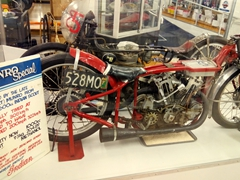 """""""Munro Special"""", a 1920 600cc Indian Scout; E. Hayes & Sons hardware store, Invercargill"""